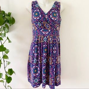 Lands End Geometric Mandala Surplice Dress